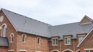 gray metal roof on a church
